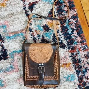 Brown Leather Embossed Messenger Crossbody Purse